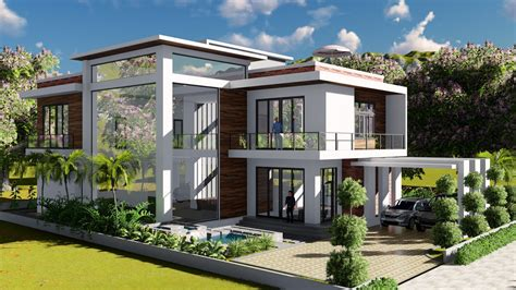 house plan creator sketchup modeling lumion render 2 stories villa design