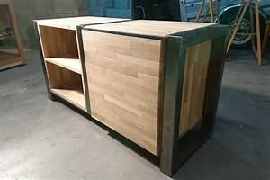 Meuble Acier Bois : fabrication d 39 un meuble tv bois acier sur mesure ~ Teatrodelosmanantiales.com Idées de Décoration