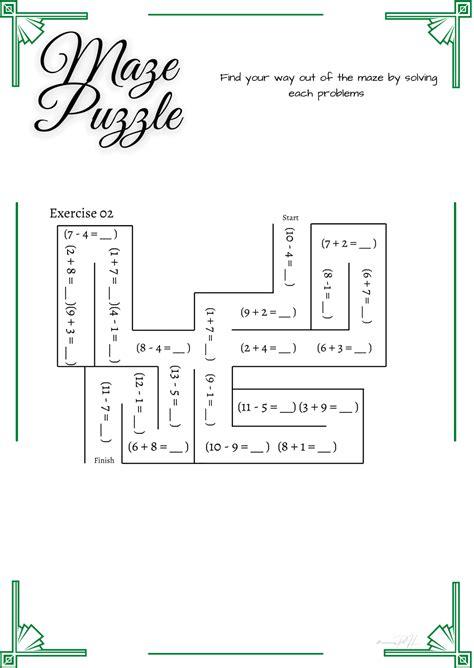 grade  math puzzle addition  subtraction maze