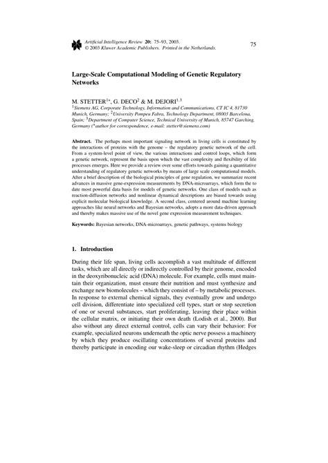 Large-Scale Computational Modeling of Genetic Regulatory