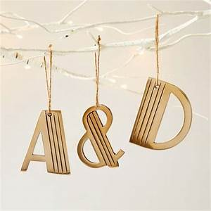 typographic tree adornments metal letter ornaments With metal letters for christmas stockings