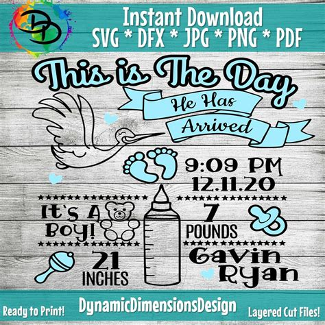 Baby boy birth announcement chart in svg dxf eps ai. Birth Announcement svg, Baby Boy svg, print, Baby gift ...