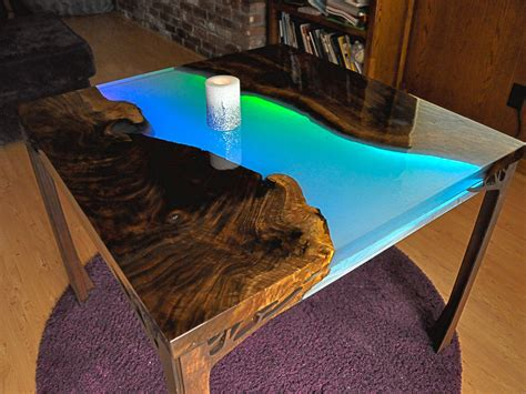 glowing led resin river table  tutorial  firepixie