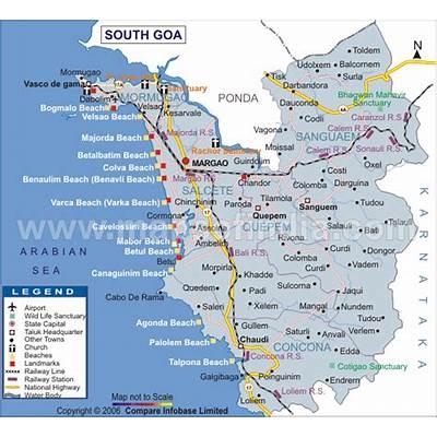 Hotels in North Goa: Map of Goa