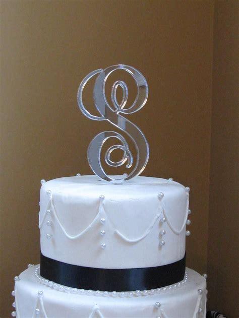 interlocking monogram cake toppersilver  milancreations