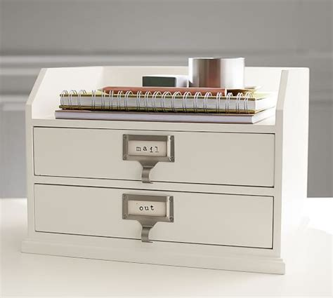 white wood desk accessories bedford two drawer paper organizer pottery barn