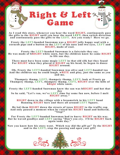 winter right and left game with buffalo checks and snowmen
