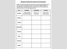 Weekly Schedule for Behavioral Activation Worksheet In