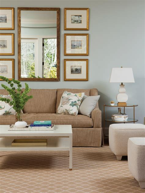 light blue living room  airy cozy hgtv