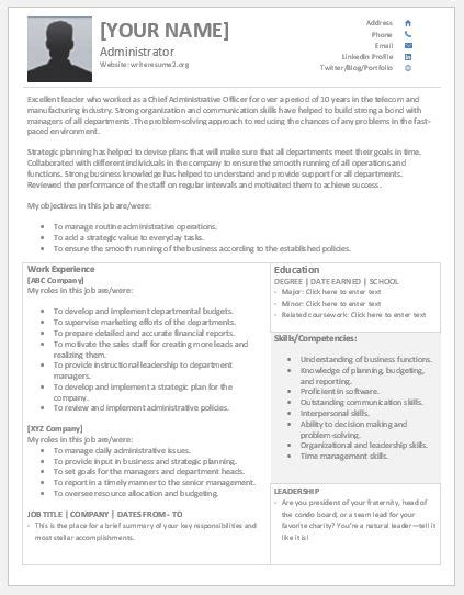 exle resume business project manager chief