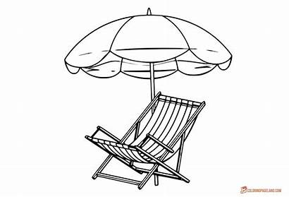 Coloring Beach Umbrella Chair Outline Pages Sheet