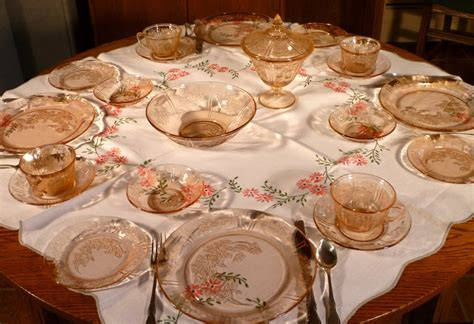 Sharon Cabbage Rose Pink Depression Glass Tablescape Thursday
