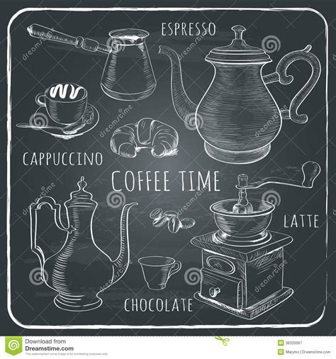 Hand drawn coffee set stock vector. Image of icon