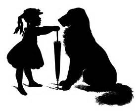 Little Girl Silhouette with Dog