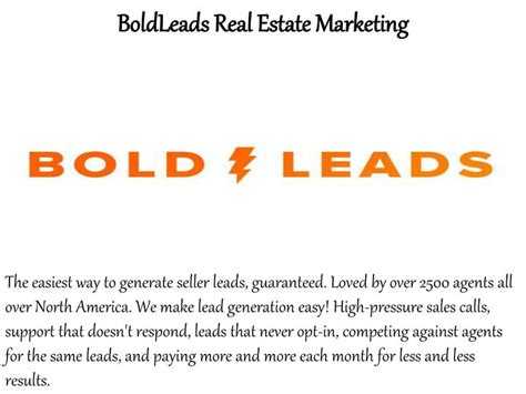 ppt bold leads review how to plan your real estate marketing strategy powerpoint