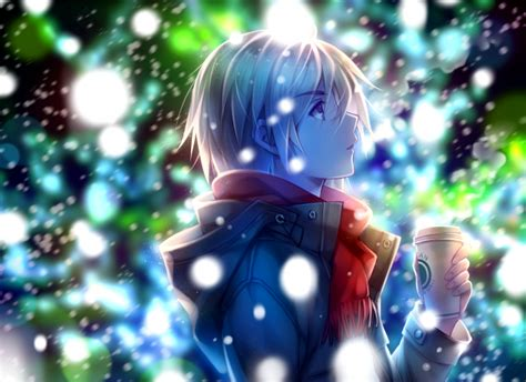 Wallpaper Anime Boy Profile View Red Scarf Winter Snow Coffee Wallpapermaiden