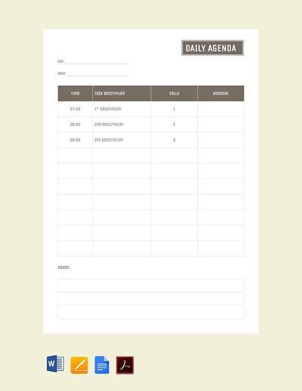 template agenda sederhana  format  word