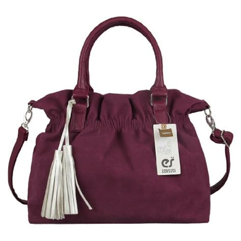 leiby tote bag with tassel wine ecosusi soft leather suede tote handbag hobo satchel