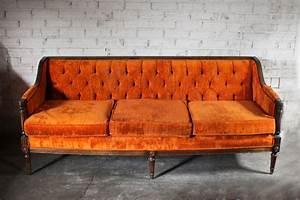 Fall vintage orange velvet tufted sofa couch sale for Vintage velvet sectional sofa