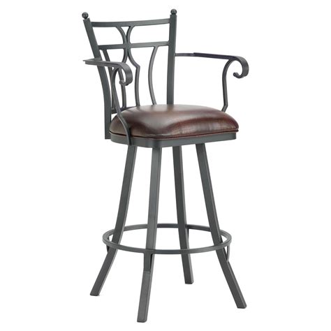 furniture black iron bar stool with arm and back also