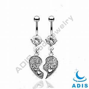 Stainless Steel best friend Dangle Belly Ring Navel ...
