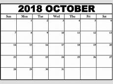 October 2018 Calendar Canada with Holidays – Printable