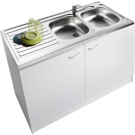 evier cuisine blanc meuble de cuisine sous évier 2 portes blanc h86x l120x p60cm leroy merlin