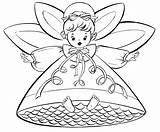 Coloring Christmas Angels Printable Pages Angel Fairy Retro sketch template