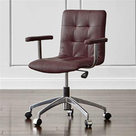 chair crate leather brown saddle navigator office barrel chairs desk furniture crateandbarrel tufted wheels