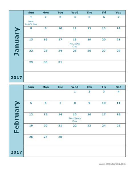 Calendar Template 3 Months Per Page by 2017 Calendar Template 2 Months Per Page Free Printable