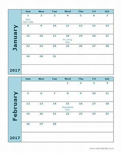2017 calendar template 2 months per page free printable With double month calendar template