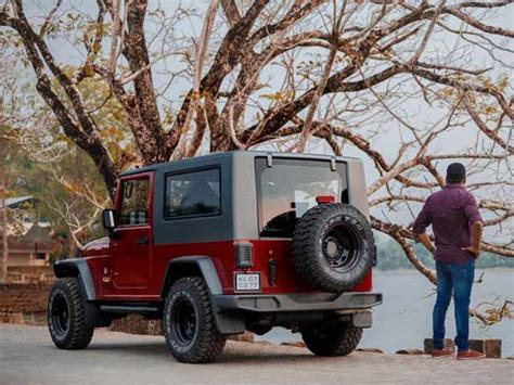 mahindra thar modified to wrangler mahindra thar disguised as a jeep wrangler drivespark news