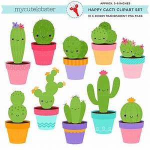 Happy Cactus Clipart Set - cute cactus clip art set, cacti ...