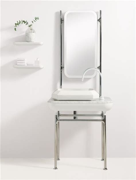 small tabletop with metal frame contemporary bathroom