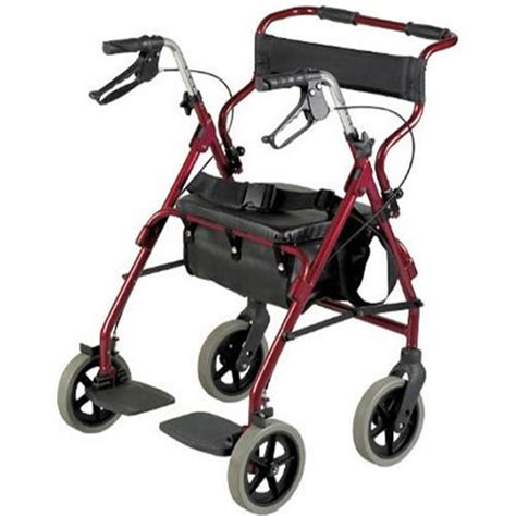 rollator and transit chair combination burgundy rollators with seats complete care shop