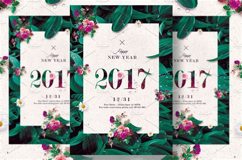Classy New Year Floral Invitation ~ Templates ~ Creative