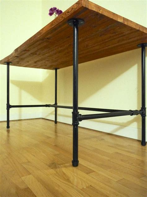 steel pipe desk legs diy console table with pipe legs woodworking projects