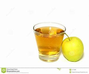 Glass Of Apple Juice And Fresh Apple Isolated On Royalty ...