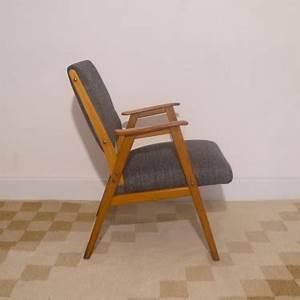 Fauteuil Design Confortable : fauteuil vintage scandinave gris teck la maison retro ~ Teatrodelosmanantiales.com Idées de Décoration
