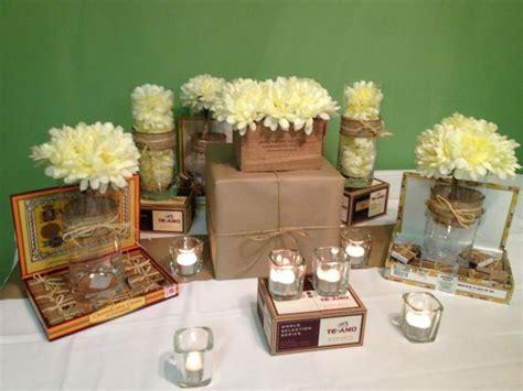 coffee bar cigar box and succulent centerpieces burlap centerpieces