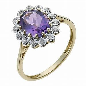 9ct Yellow Gold Diamond & Amethyst Ring | H.Samuel