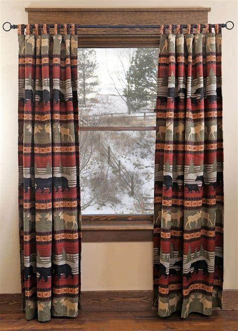 moose bear cabin curtain panels rustic window