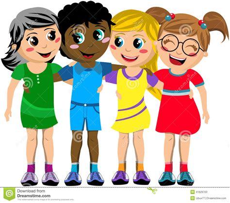group happy children kid hug friends isolated stock vector
