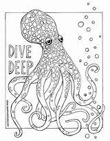 Coloring Octopus Sheets Printable Meditative Dive Leg Ocean Deep Studio Short sketch template
