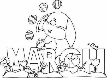 Coloring March Pages Clipart Month Bunny Clip