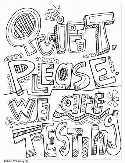 Coloring Doodle Pages Signs Quiet Classroom Please