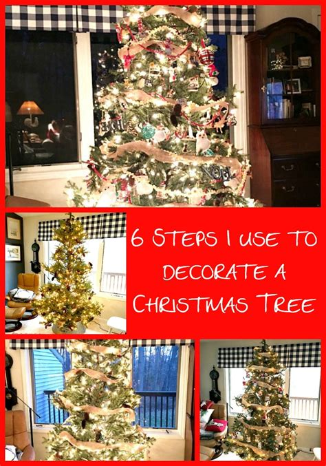 steps    decorate  christmas tree  red