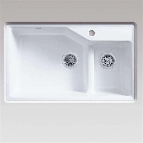 white cast iron kitchen sink kohler indio 6411 smart divide white cast iron sink 1755