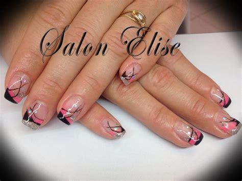 ongle en gel noir et paillette ongle en gel roses