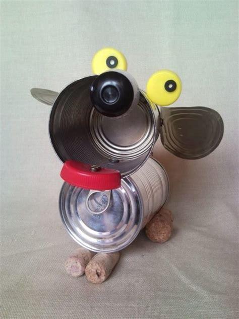 Tin can puppy recycled dog sculpture junk art home decor 2